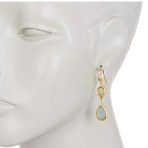 Inverted Teardrop Caribbean Blue Quartzite Earring